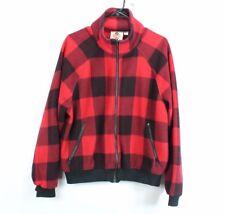 Vintage 80s Columbia Mens Medium Buffalo Plaid Full Zip Fleece Jacket Red Black