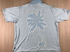f6b61c93 TOMMY BAHAMA 18 GOLF Mens Large Silk Blend Tropical Palm Tree Casual Polo  Shirt