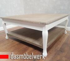 Wohnzimmer Tisch Weiß Couchtisch Sofatisch Landhaus Weiß Shabby 100 x 100 cm