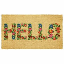 mDesign Rectangular Natural Coir/Rubber Entryway Welcome Doormat - Tan/Multi