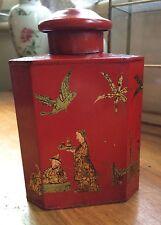 BOX TEA THE ASIE 1900 TOLE PEINTE BOITE LAQUE ROUGE CHROMO OR CUBE PEN COUPE