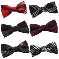 DQT Bow Tie Woven Tartan Adjustable Mens Pretied Necktie FREE Pocket Square