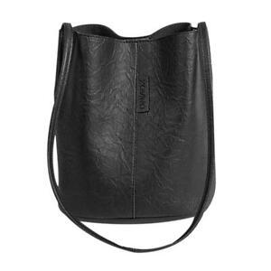 Vintage Women Shoulder Crossbody Bag Leather Totes Bucket Handbag (Black)