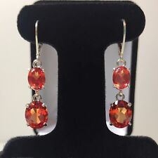 GORGEOUS 10ct Orange Padparadscha Sapphire Earrings Sterling Silver Oval Cut NWT