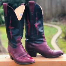 Botticelli (8) VINTAGE Women's Red Leather Cowboy Western Heeled Boots Shoes