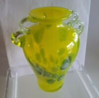 "Vtg 7"" ART DECO FRENCH style VASE w HANDLES HAND BLOWN STUDIO ART GLASS"