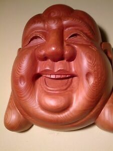 Japanese/Japan fine art! Carved Yew Wood Buddha (Hotei) Mask - Ichii-itto-bori