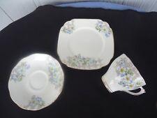 vintage roslyn bone china trio cup & saucer plate set 8427 blue flowers