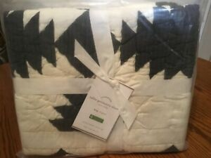 Pottery Barn Tallie Geo Geometric euro Quilted Shams Ivory Charcoal Black/S 2