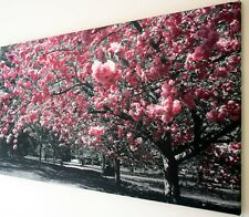 PINK CHERRY BLOSSOM  CANVAS PRINT WALL ART PICTURE 18 X 32 INCH