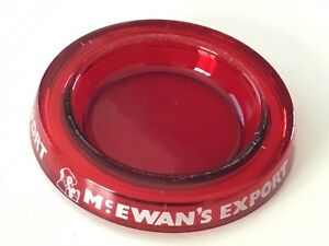 Original Vintage late 1960's  Mc Ewan's Export Red Glass Ash Tray