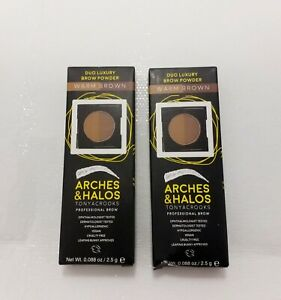 Eyebrow Powder Filler Duo Warm Brown Set of 2 Professional Arches & Halos