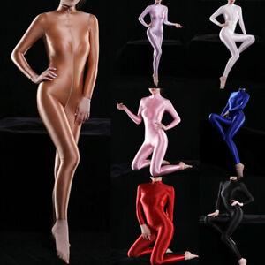 Womens Sexy Shiny Bodysuit Catsuit Leotard 2-Way Zipper Silky Playsuits Clubwear