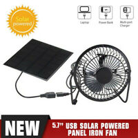 5.7'' USB Solar Panel Iron Fan Powered 6V For Outdoor Home Cooling Ventilation