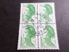 FRANCE BLOC timbres 2219 LIBERTE' DELACROIX, oblitéré 1982 cachet rond, QUARTINA