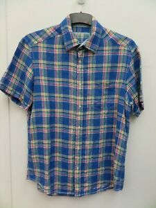 M&S Harbour Blue Check Pure Linen Short Sleeve Shirt Size S (36-38 in)