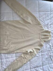 uniqlo mens small turtleneck sweater cream 100% wool pullover stretch