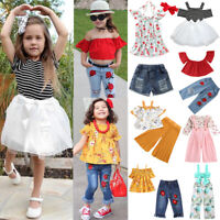 2PCS Toddler Kids Baby Girls Clothes T-shirt Tops+Skirt Pants Outfits Set