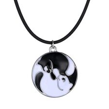 Fashion Round Coin Black Animal Cat Pendant Necklace Leather Chain Women Jewelry