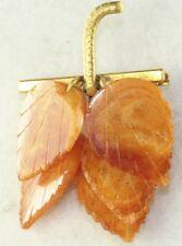 VINTAGE CARVED LEAVES AMBER PIN