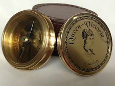 Victoria Compass Solid Brass Marine Nautical lid Pocket compass - Gift