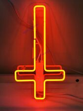 "New Upside Jesus Cross Neon Light Sign 14"" Lamp Beer Bar Acrylic Real Glass"