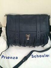 NWT $1995 Proenza Schouler PS1 Fringe Runner Satchel Bag Midnight Blue
