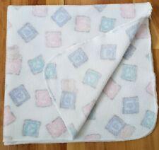 New listing Vintage Baby Blanket Fleece Pastel Pink Blue white teddy bear