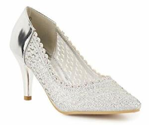 New Ladies Low Heel Silver Mesh Glitter Frill Fashion Slip On Court Shoes 3-8