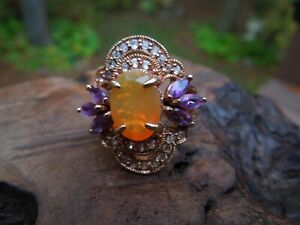 Rose Gold Wash Sterling Silver Pink Opal, Amethyst & White Topaz Ring Size 6