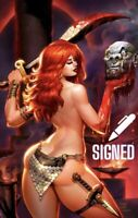 🗡🔥🖊 RED SONJA THE PRICE OF BLOOD #1 MATT DALTON SIGNED Virgin Variant COA NM