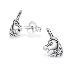 925 Sterling Silver Magical Unicorn Head Horse Pony Stud Earrings Cute Gift OX