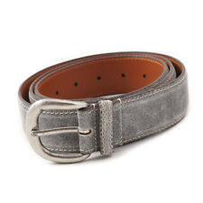 New $295 SANTONI Distressed Gray Leather Casual Jeans Belt 42 (105cm)