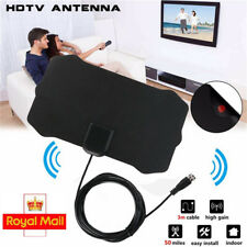 In/Outdoor Mini Ultra Thin Antenna 200 Miles + Amplifiers TV Ariel HD TV Booster