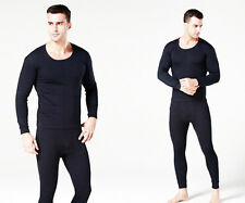 Mens 2pc Thermal Underwear Set Long Sleeve Heave Fleece Top Bottom Black XL