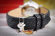 OMEGA CUSTOM 18 mm Stingray Bracelet en cuir noir pour votre vintage watch-SUPERBE P