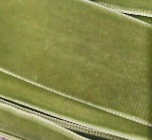 """Vintage  1.5"""" Velvet Ribbon Trim Moss 3yds Made in Switzerland"""