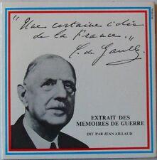 CHARLES DE GAULLE (45 Tours) EXTRAIT DES MEMOIRES DE GUERRE - JEAN AILLAUD