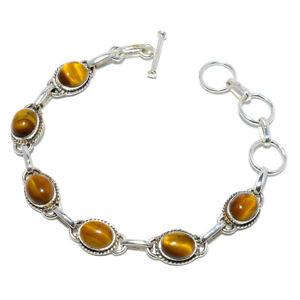"Yellow Tiger Eye-South Africa 925 Sterling Silver Tennis Bracelet 7.99"" M1523"
