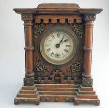 Antique Clocks : Black Forest type Castle Alarm Clock Early 20thC