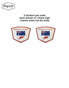 Haines Hunter Shield decals x 2 100mm high