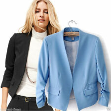 Hip Length Cotton Blend Blazer Coats & Jackets for Women