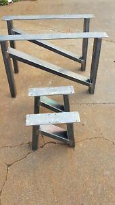 2 'H' / DESIGN RETRO INDUSTRIAL STEEL METAL TABLE COFFEE BENCH LEGS DESK PAIR