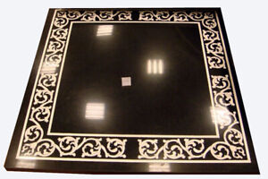 "24"" Black Marble Coffee Table Top Inlaid Mosaic Mother Of Pearl Home Decors B809"