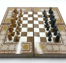 Chess Checkers Backgammon Vintage Set Handmade Wood Pieces Damascus Style Board