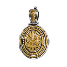 Gerochristo P3330N ~ Chi Rho-Chrismon Sterling Silver Medieval Locket Pendant