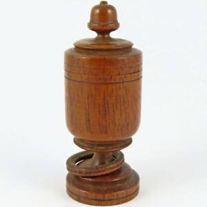 ANTIQUE URN HAND CARVED TURNED WOOD WOODEN TREEN TREENWARE THIMBLE HOLDER CASE