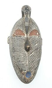 AFRICAN TRIBAL HAND CARVED WOODEN MASK - BAULE IVORY COAST - MAN CAVE