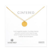 "Dogeared Centered Large Circle Double Chain Gold Dipped Box 18"" Necklace"