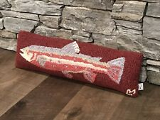 Chandler 4 Corners - Wool - Trout Pillow - Maroon - 23� - Hand Hooked - $60